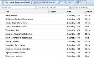 Tvheadend TV server screenshot